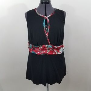 Torrid Top 1 1X Black Floral Red Blue Tank Keyhole